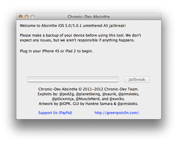 Jailbreak IPhone 4S / iPad 2 5.0.1 Untethered with Greenpois0n Absinthe