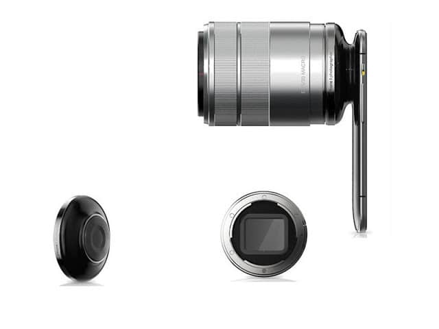 3D camera concept and removable lens side view