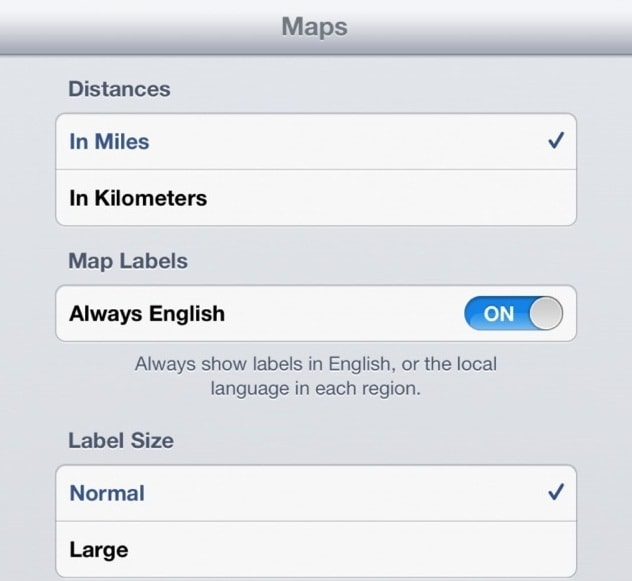 iOS 6 MAP settings