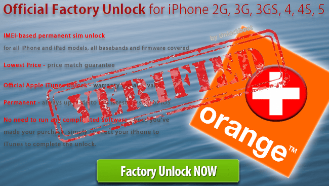 Unlock Orange Switzerland iPhone 5