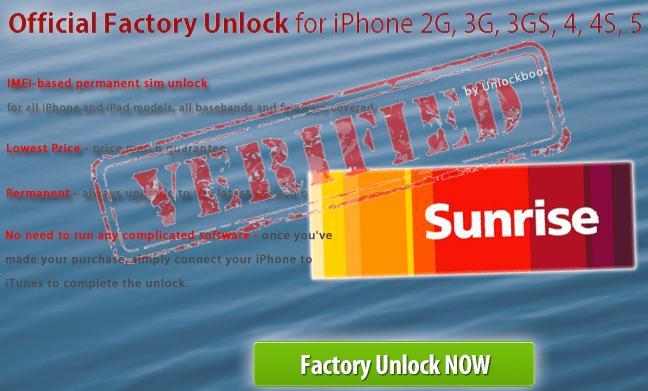 Unlock Sunrise iPhone 4