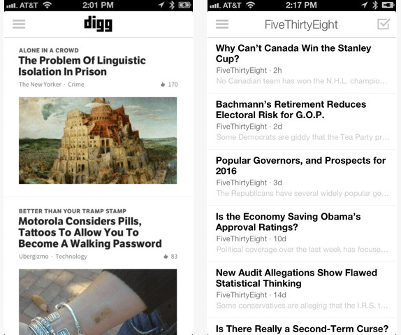 Digg app for iOS 7