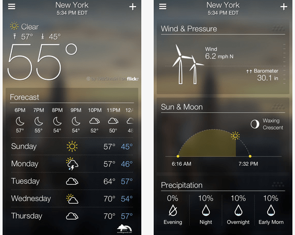 Yahoo weather app iOS 7