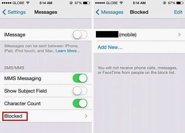 Block Text messages IOS 7
