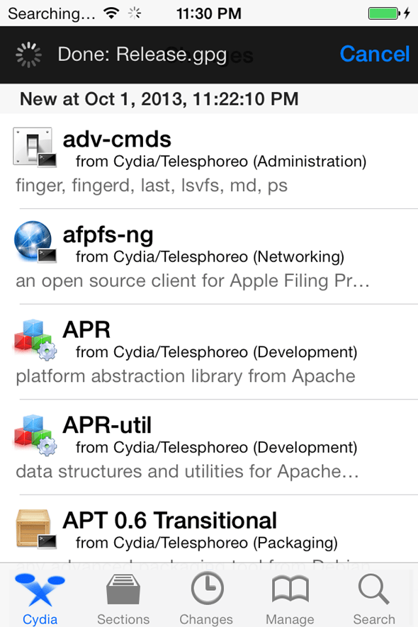Cydia on IOS 7 Jailbreak