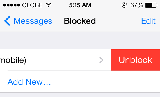 Unblock Person IOS 7