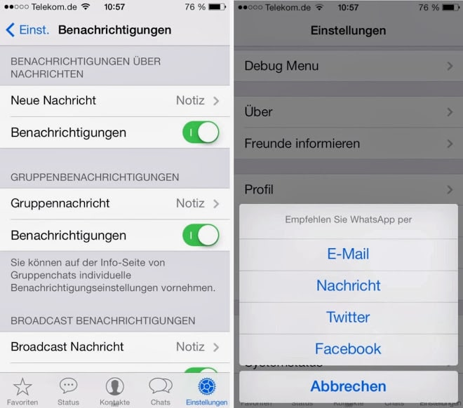 WhatsApp for IOS 7 Features