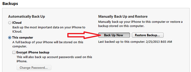 backup iphone contacts using itunes