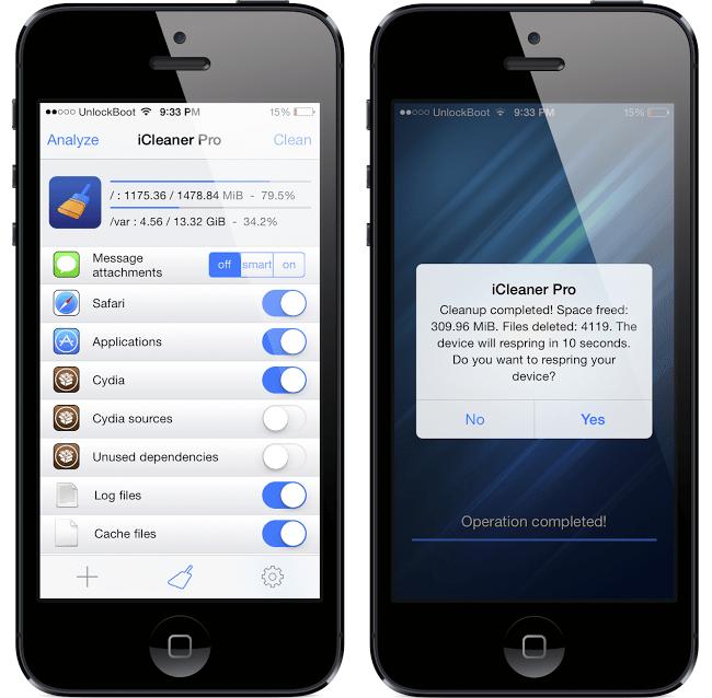 iCleaner pro iOS 7 tweak