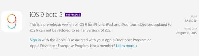 IOS 9 Beta 5 IPSW Download