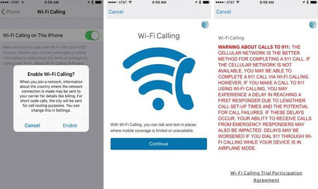 activate wifi calling iOS 11