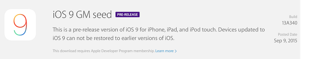 iOS 9 GM Download