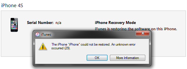 iphone could not be restored how to fix itunes error 29 iphone 4s 5 5c 5s 6 6 6s 7 17634
