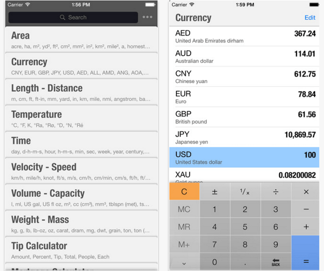 unit converter for iphone