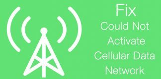 could not activate cellular data network