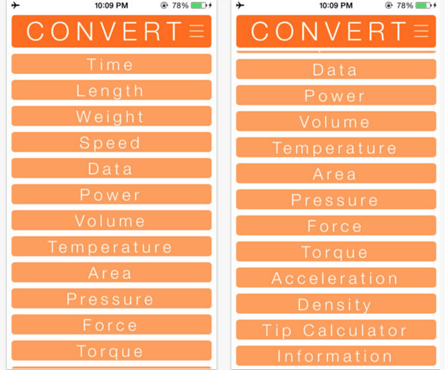 Convert App for iPhone