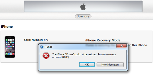 unknown message not found iphone how to fix itunes error 4005 when restore iphone 1936