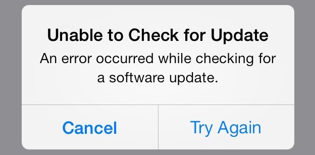 unable to check for update iphone