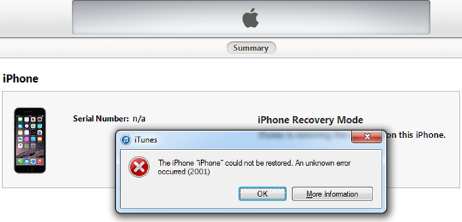 iphone error 2001