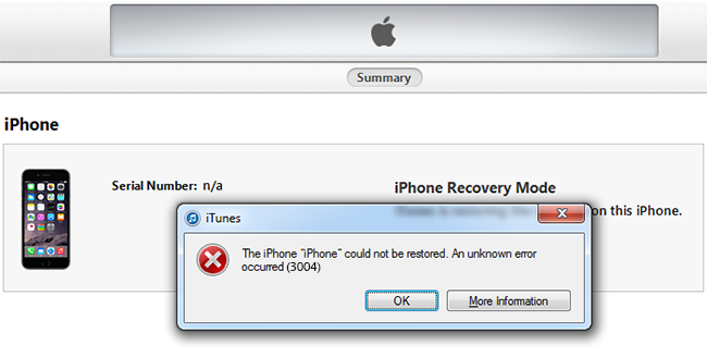 itunes 3004 error fix