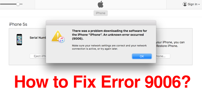 iTunes Error 9006 fix