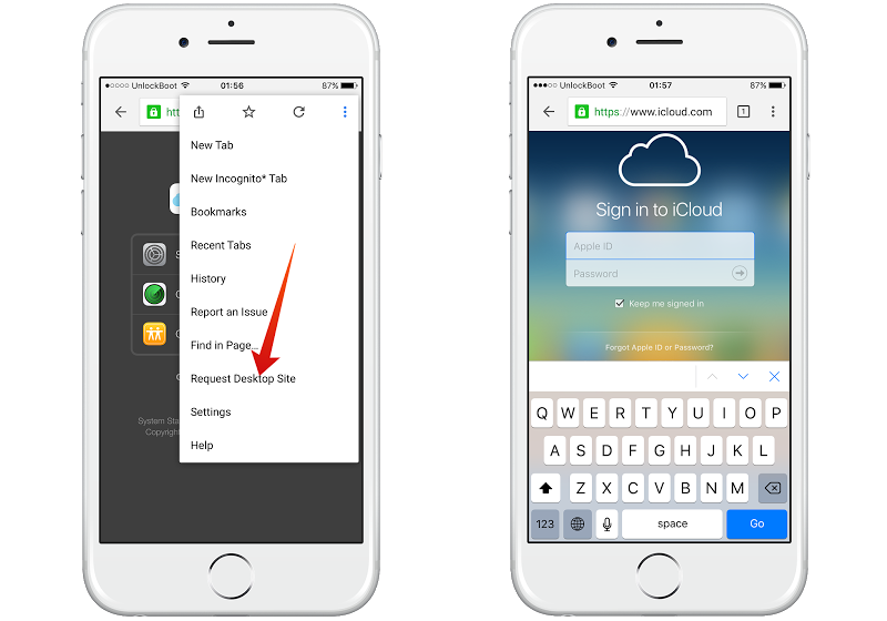 login to iCloud from iPhone