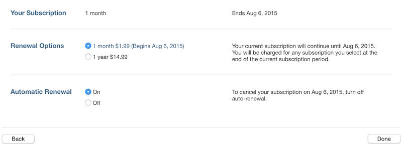 Cancel iTunes subscription