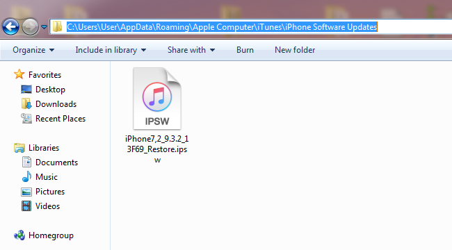 IPSW location Windows