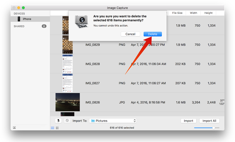 delete all photos from iPhone on mac