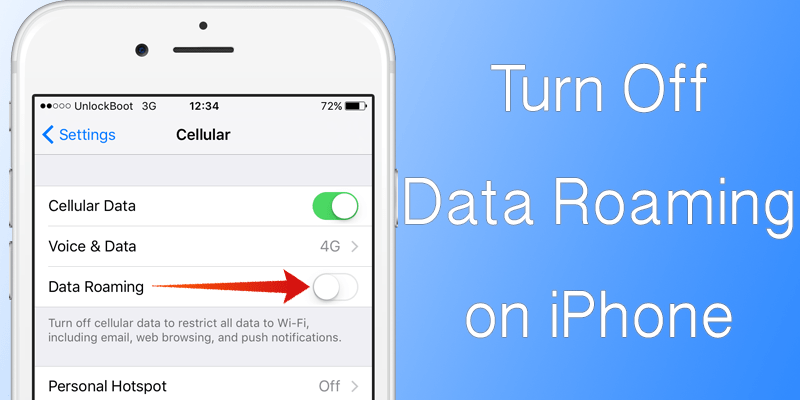 Turn off Data Roaming On iPhone