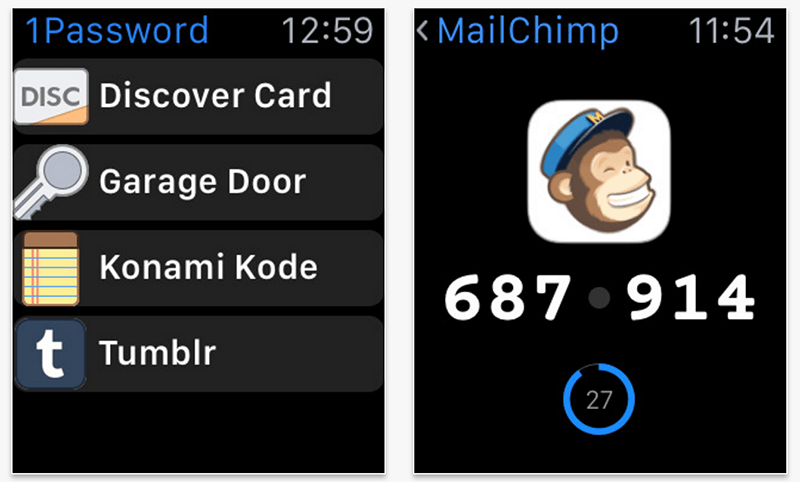 1Password Apple Watch app
