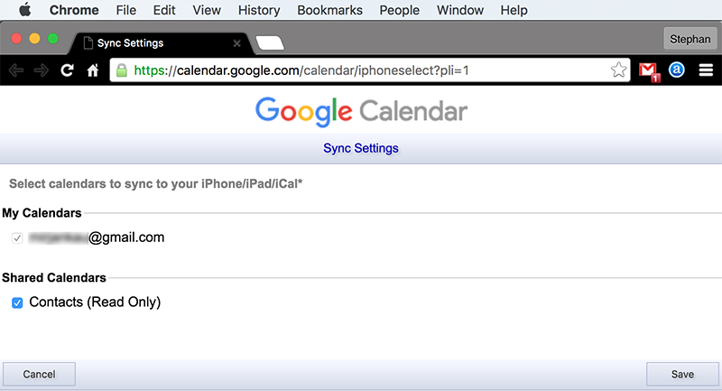 Sync Google Calendar with iPhone