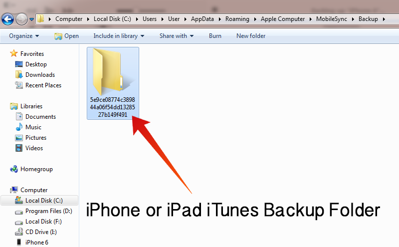 iTunes Backup Location on Windows