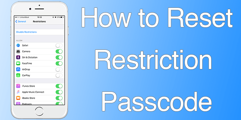 reset restriction passcode on iphone