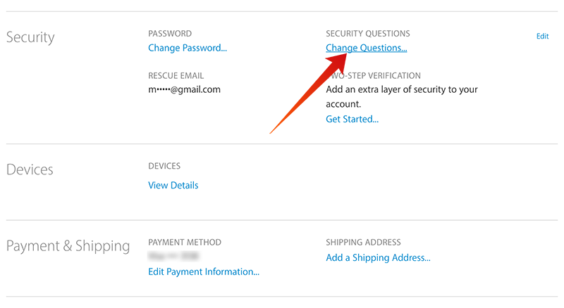 change apple id security questions
