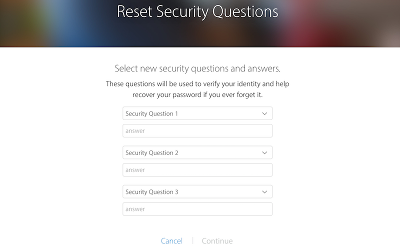 reset forgotten apple id security questions