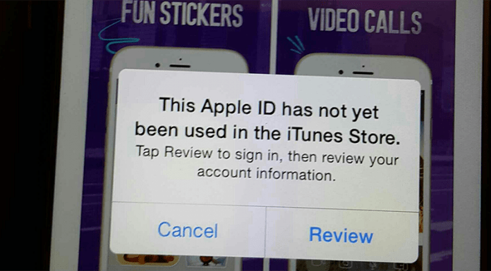 this apple id has not yet been used in the itunes store