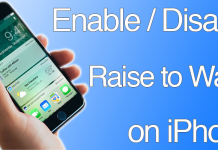 disable raise to wake on iphone
