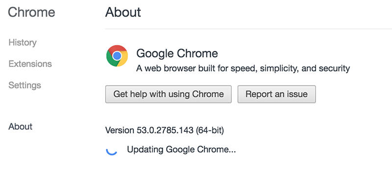 Update Google Chrome on Mac