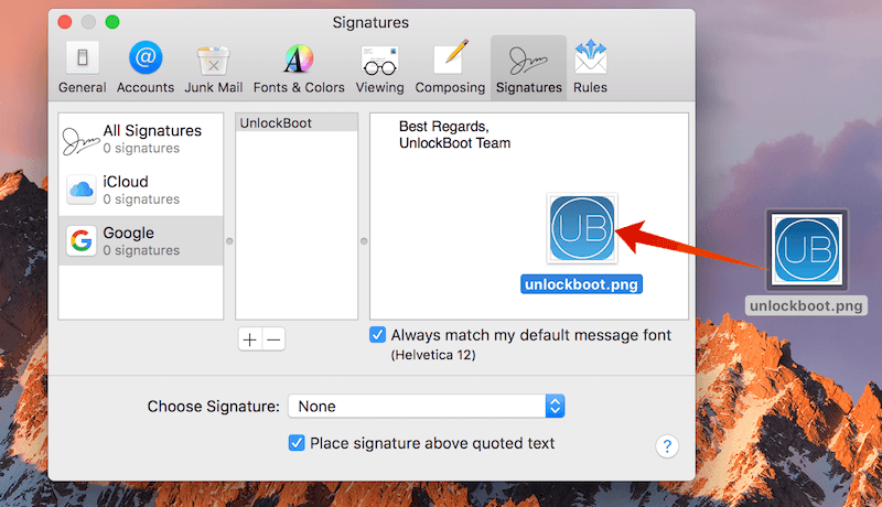 add image signature in mail app