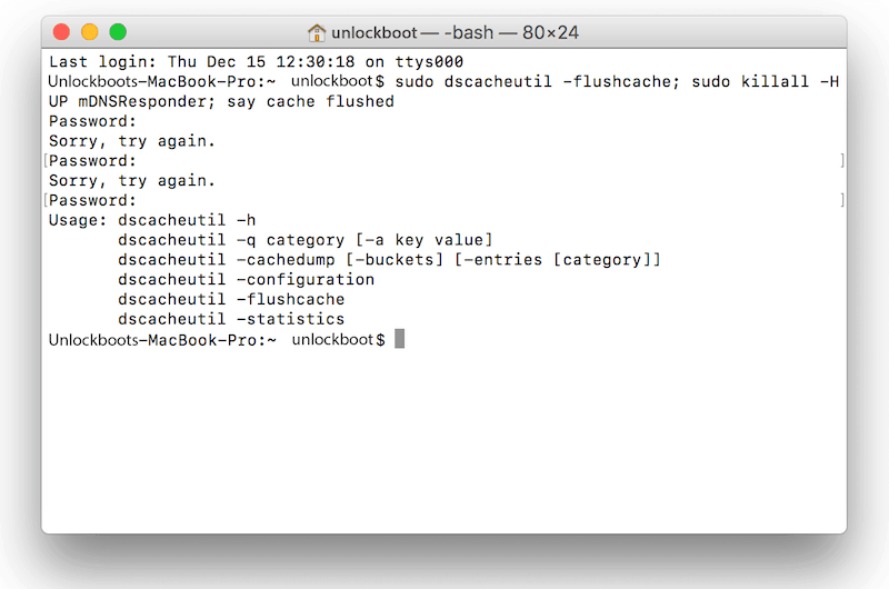 clear dns cache on mac
