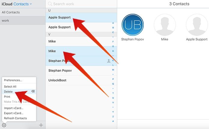 delete duplicate contacts in icloud