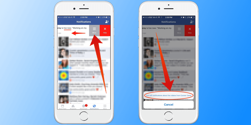 turn off facebook live notifications on iphone