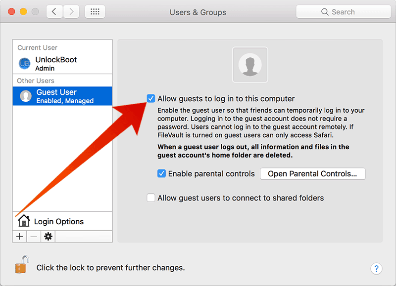 remove guest user on mac