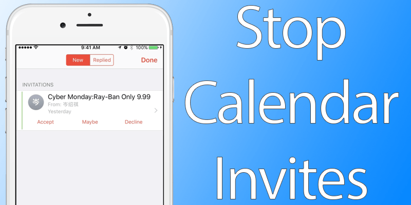 stop calendar invites on iphone