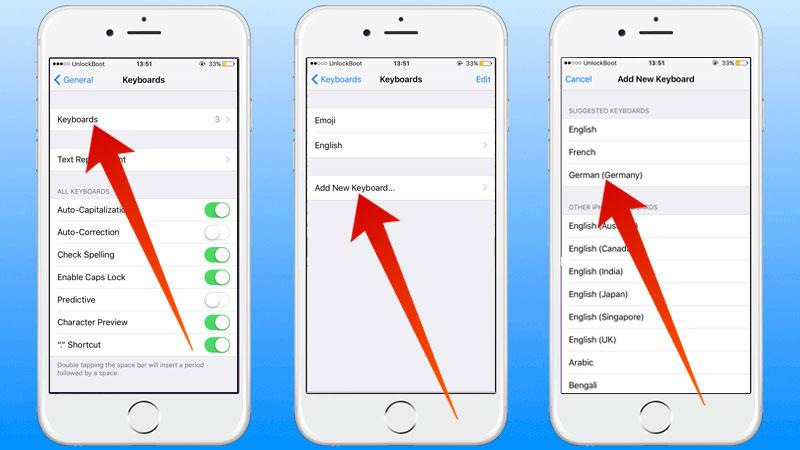 add keyboard language on iphone