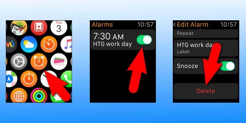 delete alarm on apple watch
