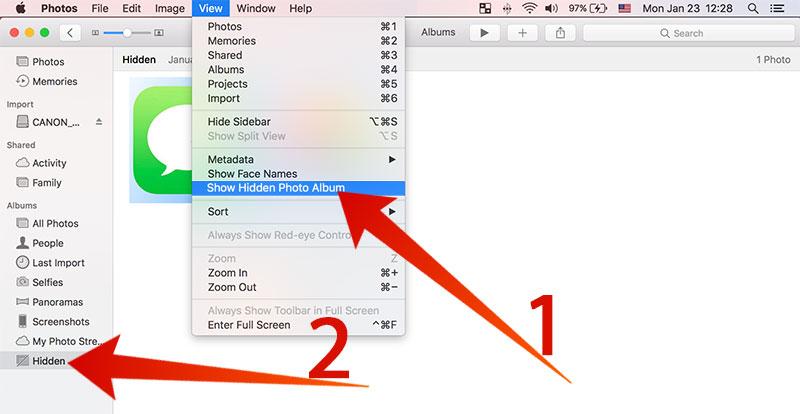 show hidden photos on mac
