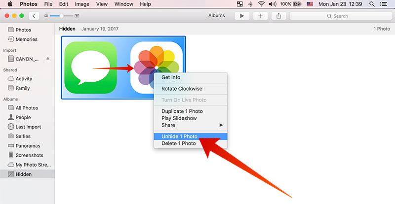 unhide hidden photos on mac