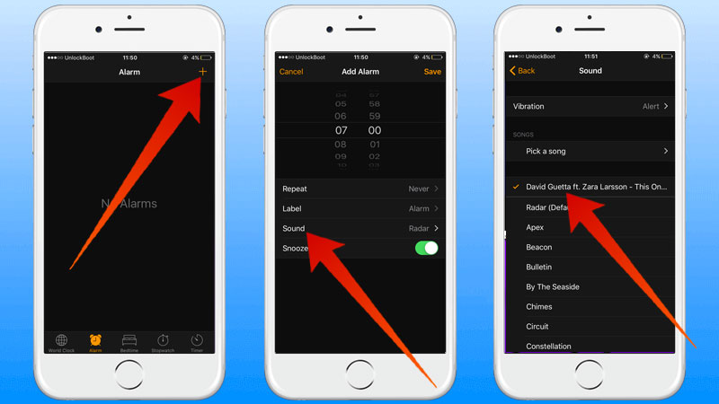 set custom alarm sound on iphone